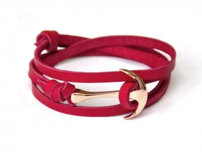 Náramok kotvy z ružového zlata na červenej koži Verge panske doplnky