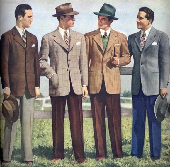 1940s-mens-fashion-suit, história Pánskej módy, 100 rokov pánskej módy, pravý muž, oblek, sako, vintage, 40 roky