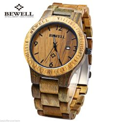 Bewell Vera, drevené hodinky, Guajakan drevo, pánske hodinky, štýl, Guayacan wood