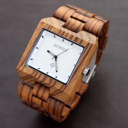 Bewell Casual, drevené hodinky, Zebrove drevo, pánske hodinky, štýl, drevené hodinky