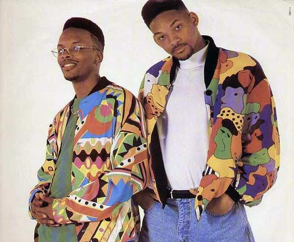 1992-fresh-prince-jazzy-jeff, 1990s-mens-basic-wardrobe, 100 rokov pánskej módy, pravý muž, oblek, sako, vintage, 90 roky