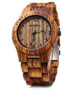 Bewell Abigarrado, drevené hodinky, Zebrove drevo, pánske hodinky, štýl, drevené hodinky