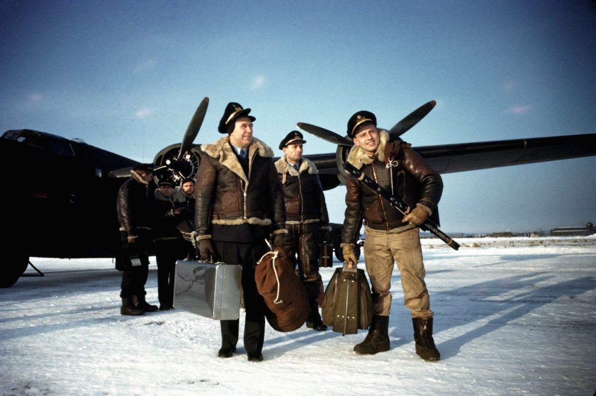 GOOSE BAY, LABRADOR - DECEMBER 1942: The flight crew of a B-24 Liberator arrive at a United States Army Air Force base in December 1942 in Goose Bay, Labrador, Canada. (Photo by Ivan Dmitri/Michael Ochs Archives/Getty Images)