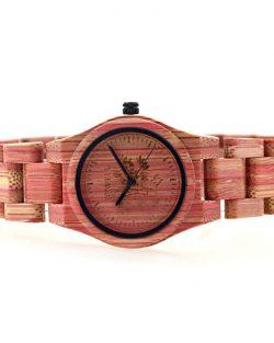 Drevené Hodinky Coloré - Červený Bambus