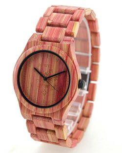 Dámske Drevené Hodinky Coloré - Červený Bambus