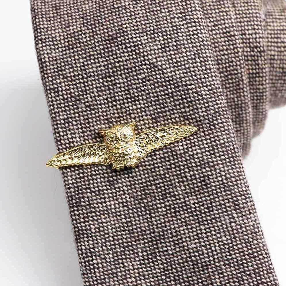 Kravatová Spona – Sova Zlatá Farba