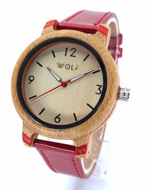 Dámske Drevené Hodinky Wolf Linea – Bambusové Drevo (Červený Náramok)