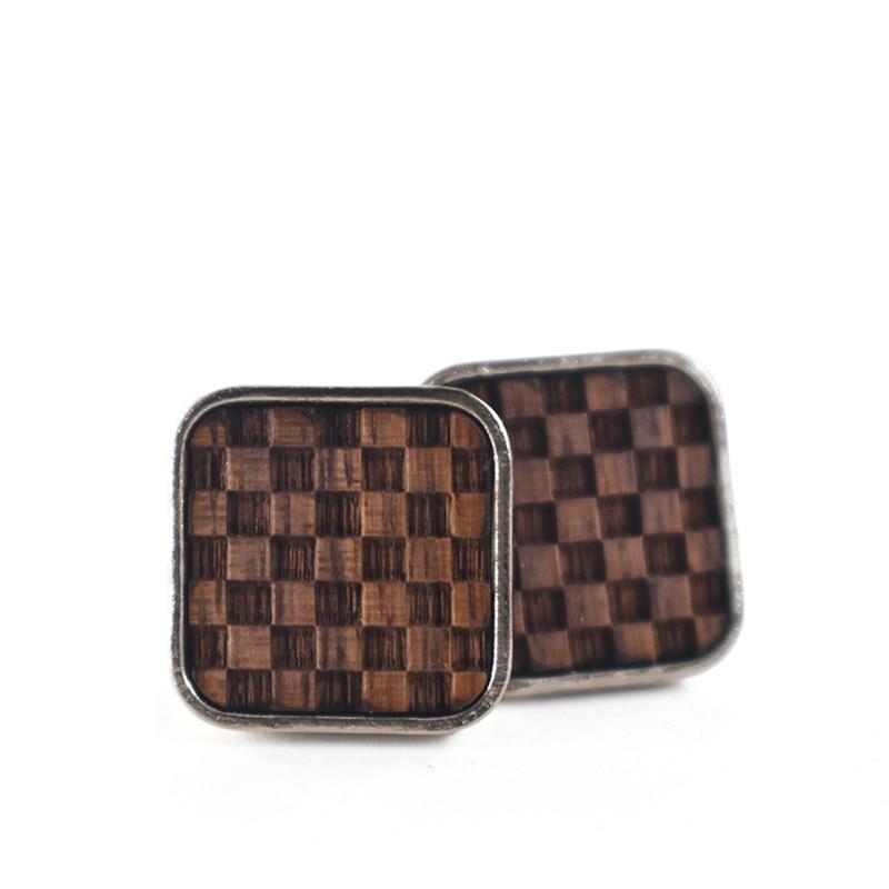 Manžetové Gombíky Šachovnica – Orechové Drevo