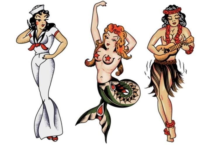 Námornícke Tetovanie dievčatá hula tanečnica morská panna