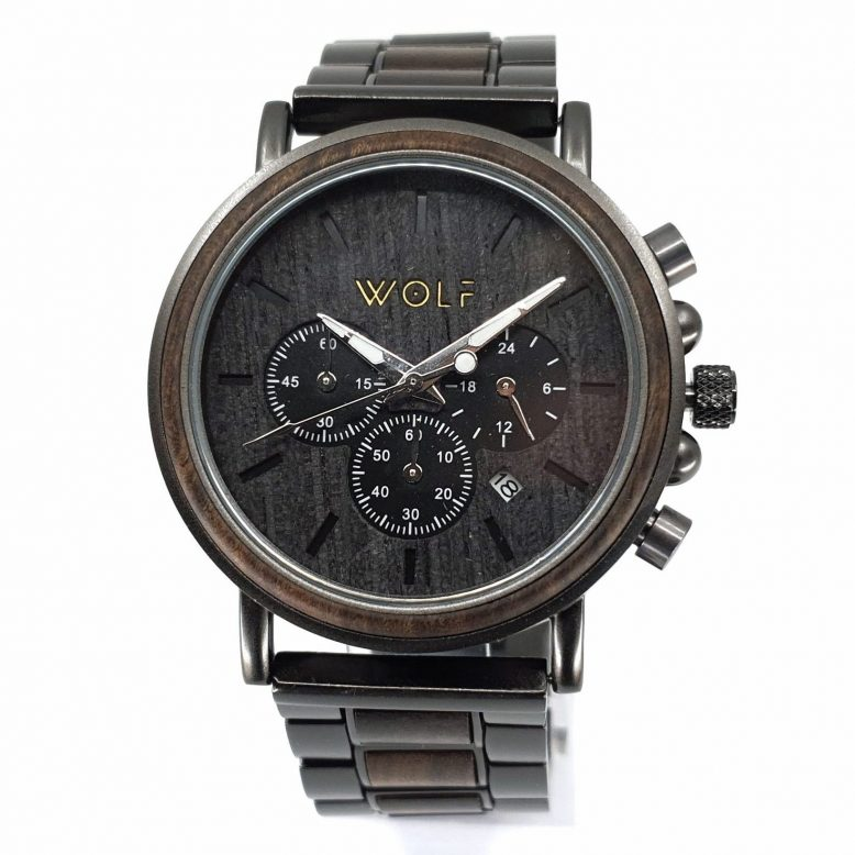Drevené hodinky vyrobené z výberové recyklované drevo s kombináciou vysoko kvalitného kovu majú nielen krásu šperku, ale aj eleganciu dreva. Wolf, logo, drevené hodinky, drevene doplnky